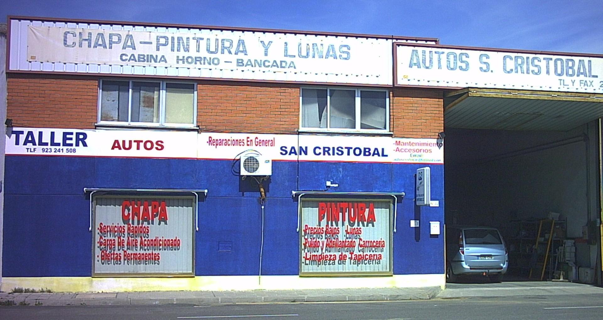 """Fachada del taller de chapa y pintura """"Autos San Cristóbal"""""""